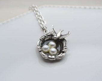 Necklace bird - necklace bird nest - necklace pendant - necklace charms - silver necklace - bronze necklace - romantic - woman gift