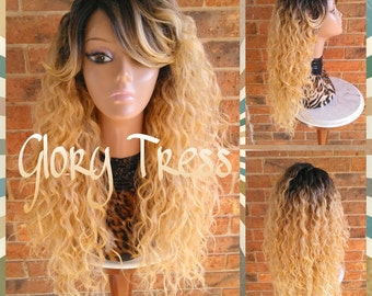 ON SALE // Celebrity Inspired Wig, Long Wavy Lace Front Wig, Ombre Golden Platinum Blonde Wig / ANGEL /Free Shipping