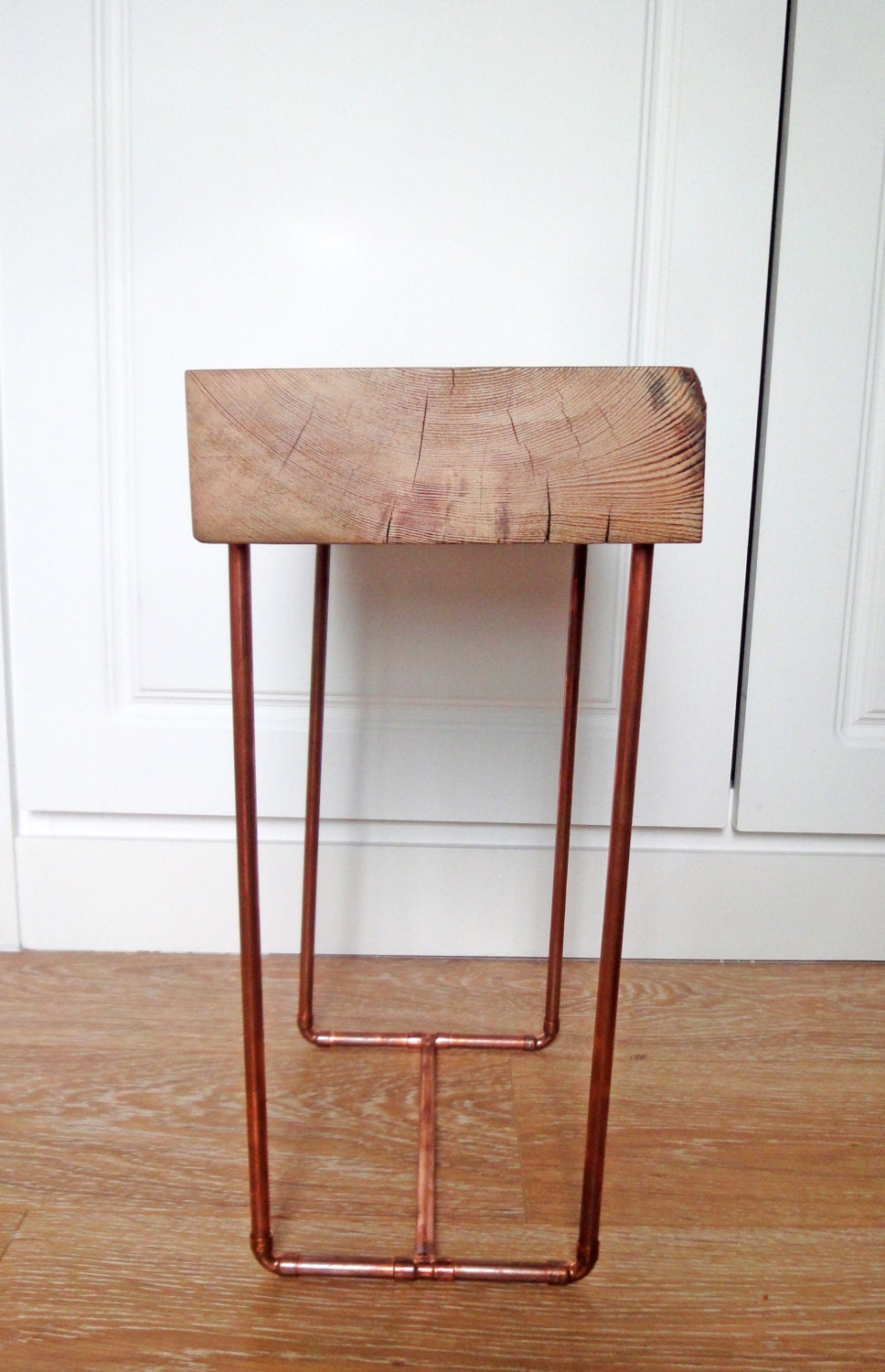 Side table with copper pipe legs by owlfurnituredesigns on for Table y copper tube