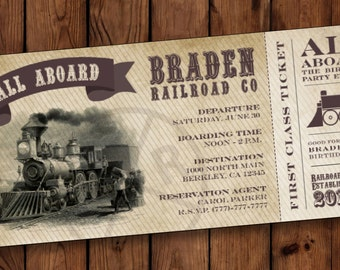 Boarding Pass Invitations, Train Birthday Invitation, Train Birthday Party Invite, Birthday Invitation Ticket, Boarding Pass Invites #003