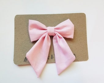 Solid Light Pink Big Bow - The Anna