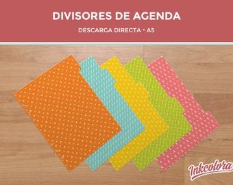 Divisores para agenda   A5   Separadores de archivador   Pack de 5