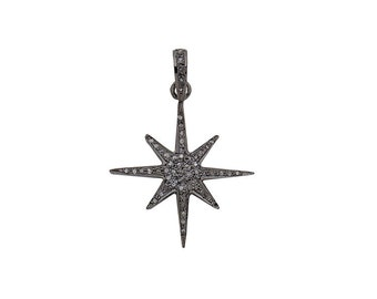 Pave Diamond Star Charm Pendant 925 Sterling Silver - 28.5mm (with ring on top) x 25mm