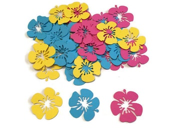 100 Assorted Flower Confetti, Die Cut Flower, Baby Shower, Luau Theme Party, Retirement, Luau Birthday Party, Wedding Shower