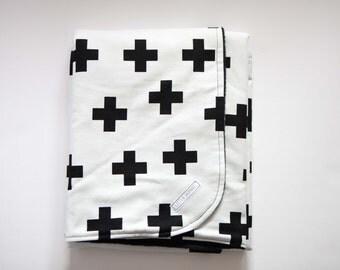 Baby or Toddler Blanket - Modern Black+White Cross -  Black Polar Fleece Backing