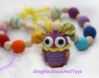 Crochet necklace Nursing necklace Babywearing necklace Teething necklace TeetherTeething toy Rattle Teething Owl Baby rattle