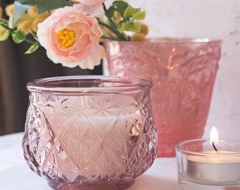 Pink Cut Glass Votive Candle Holder   Wax Candle Votive   Wedding Table Centrepiece   Glass Votives   Wedding Candle Holder