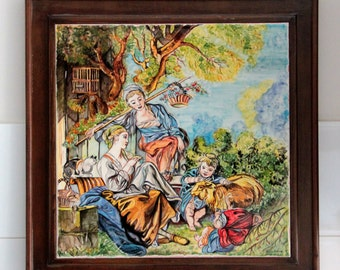 Artistic ceramics Italy Italian artistic majolica Panel figurative ceramic hand painted Pottery and Ceramic Italy art wedding Gifts painting