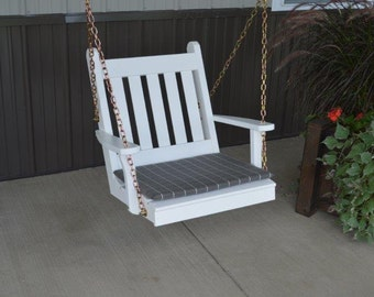 2 Foot Traditional English Pine Porch Swing Chair - *UNFINISHED* Handmade - Amish made in the USA