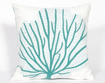 Indoor Outdoor Beach Theme Handmade Decorative Throw Pillow - Aqua Coral Reef Fan on White - FREE SHIPPING!!