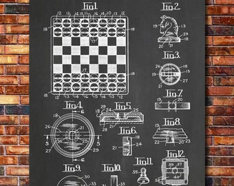Chess And Checkers Patent Print Art 1940