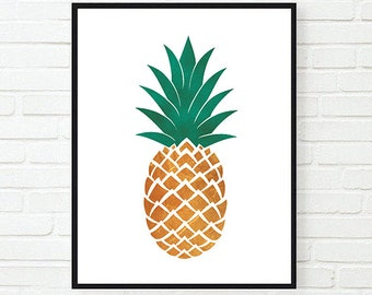 Pineapple Poster, Golden Pineapple, Printable Poster, Digital Print, Modern Poster, Pineapple Wall Art, Tropical Print, Home Decor, Wall Art