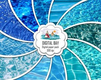 "WATER - Digital paper pack – Instant download - Scrapbook Paper – Digital scrapbook - 12"" x 12"" - Commercial use –Digital background"