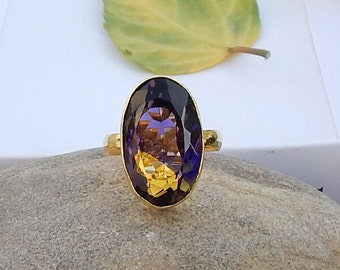Oval Cut Ametrine Gemstone Yellow Gold overlay 925 silver Ring Size 9, Amethyst Citrine Mix Gemstone Ring