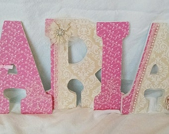 Nursery letters girl, letters for nursery, pearls and lace, custom letters for girl, girl nursery decor, pink and cream nursery