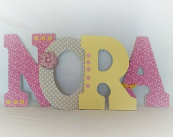 Nursery wooden letters, custom nursery letters, hanging letters for nursery,  girls nursery decor, girls room, yellow and pink