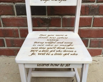 Wood burned, toddler timeout chair, Girls will be girls time out chair, woodburned