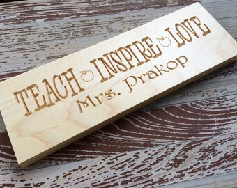 Custom Maple Wood Teacher Appreciation Gift Plaque/Sign - Personalized Wood Carving - Teacher Gift