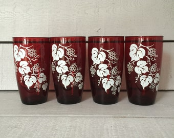 Ruby Red Glass Tumblers - Anchor Hocking - Set of Four
