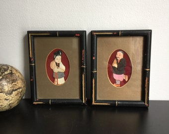 Japanese Oshie Art - In Bamboo Style Frame