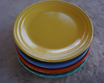 "50's Vintage California Pottery, Bauer Pottery, 6 1/2"" Side Plates, Mid Century Modern Pottery, Art Deco Pottery,"