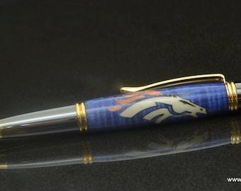 Denver Broncos wood inlay pen