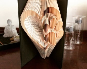 Heart Paw - Folded Book Art Sculpture - Completed Book - Dog Lover