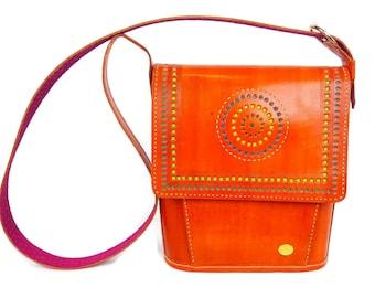 Tarini Tote for women, Genuine leather orange Tote, handtooled womens leather shoulder bag # ships FREE Australia wide womens Tote