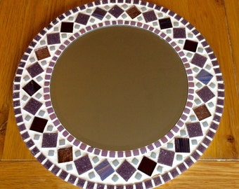Round Mosaic Wall Mirror - Purple Mauve - 30cm