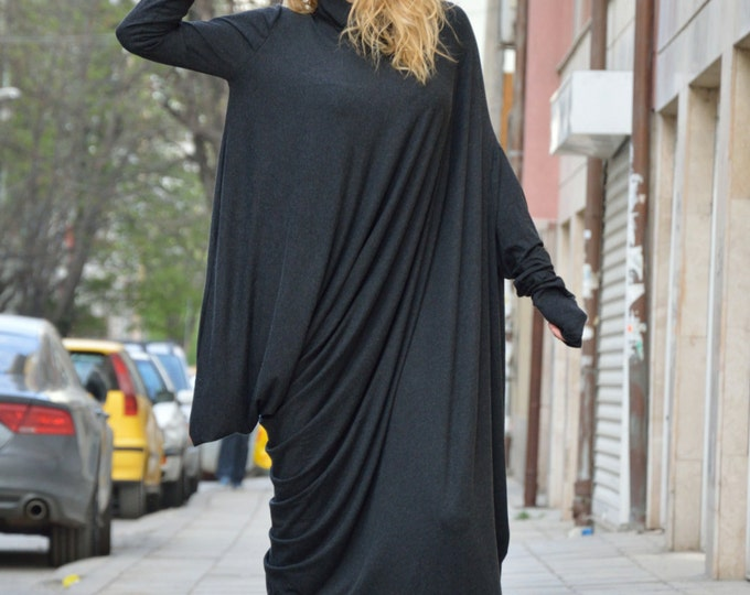 Black Extravarant Oversize Dress, Loose Casual Turtleneck Dress, Long Sleeves Asymmetric Dress By SSDfashion