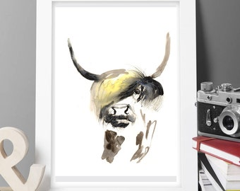 original watercolor HIGHLAND COW paitning,COW painting,watercolor rooster,print, painting large paiting,buy 2 get 1 free at voleika art