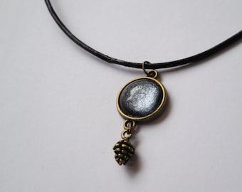 Bronze pinecone crystal necklace handmade