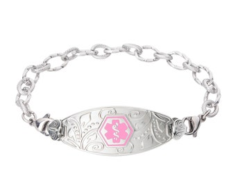 Lovely Filigree Medical Alert ID Tag Ridged Stainless Bracelet-Pink-Free Engraving, Wallet Card, Apps-5620PK