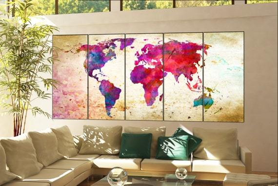 wall art print world map print on canvas wall art print world map print decor artwork world map print wall art home decoration 5 panel