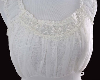 Sheer White Nylon Lace Nightgown, Empire Waist Size 34 by Carillon 1950s
