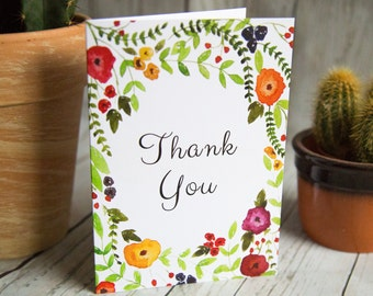 Thank You Card - Floral Greetings Card