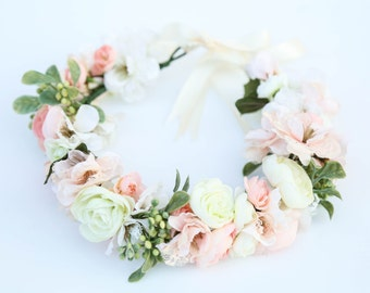 Pastel flower crown,Flower headband, headband, wedding flower crown, bridal flower crown, bohemian flower crown,dainty floral crown