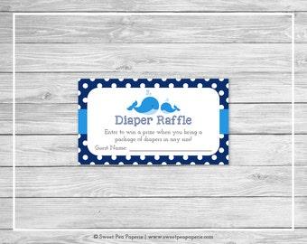 Whale Baby Shower Diaper Raffle Insert - Printable Baby Shower Diaper Raffle Cards - Blue Whale Baby Shower - Diaper Raffle Cards - SP127