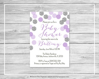 Purple and Silver Baby Shower Invitation - Printable Baby Shower Invitation - Purple and Silver Baby Shower - Baby Shower Invitation - SP126