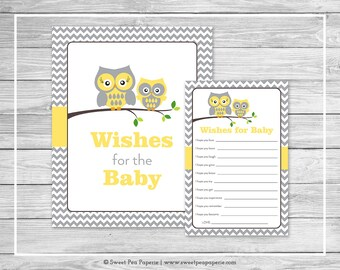 Owl Baby Shower Wishes for Baby Cards - Printable Baby Shower Wishes for Baby Cards - Yellow Owl Baby Shower - Baby Wishes - Owl Baby- SP133