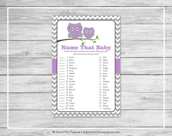 Owl Baby Shower Name That Baby Game - Printable Baby Shower Name That Baby Game - Purple Owl Baby Shower - Name That Baby - Owl Baby - SP136