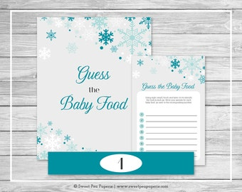 Winter Wonderland Baby Shower Guess The Baby Food Game - Printable Baby Shower Guess The Baby Food - Winter Wonderland Baby Shower - SP114