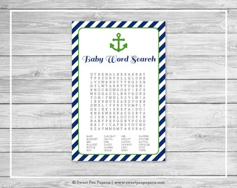 Nautical Baby Shower Baby Word Search Game - Printable Baby Shower Baby Word Search Game - Navy Green Baby Shower - Baby Word Search - SP120