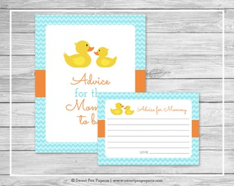 Rubber Ducky Shower Advice for Mom Cards - Printable Baby Shower Advice Cards - Rubber Duck Baby Shower - Advice for Mom to Be - SP122