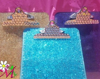 Glitter Clip Board, Office Supplies, School Supplies, (Plastic), (Your Choice of Color), Pink Clip Board, Turquoise Clip Board, Teacher Gift