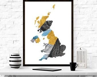 Great Britain Map,  minimalism, wall art, modern design, home decor, nordic design