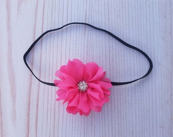 Pink flower headband. Newborn headband. Baby girl headband