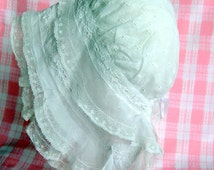 Stunning Late Victorian sprigged muslin, lace trimmed, child's bonnet.circa 1890-1900
