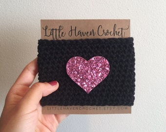 Lavender Glitter Heart Crochet Coffee Cozy -- Gifts Under 10