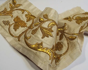Antique French Gold Metallic Stump Work Embroidery Textile